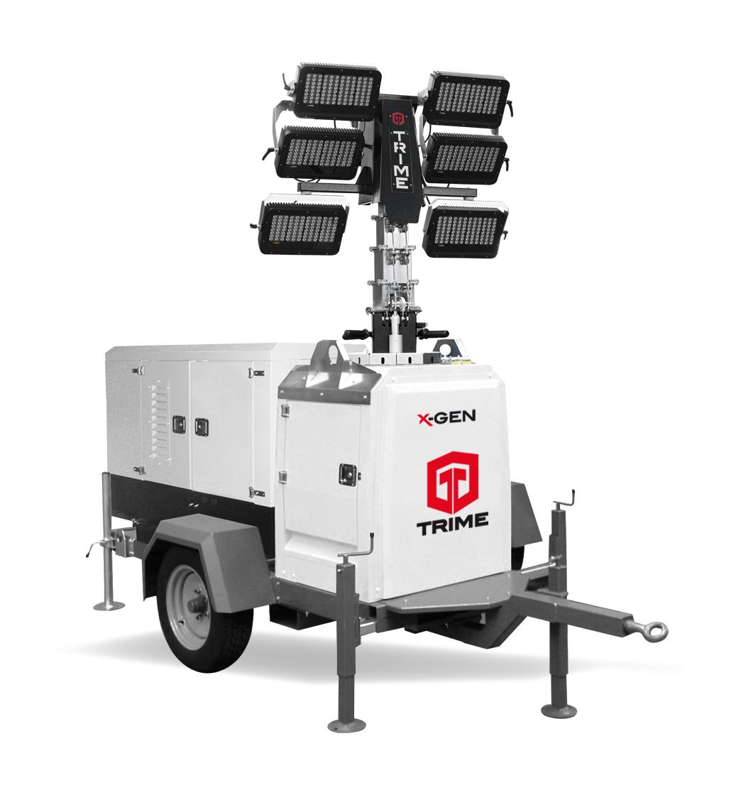 X-Gen mobiele lichtmast op aanhanger met generator