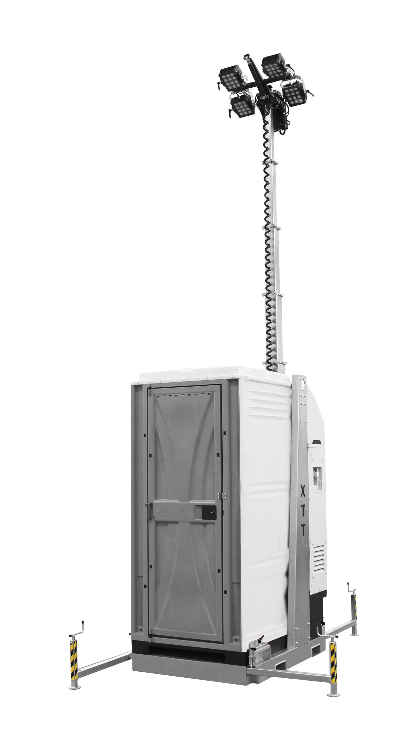 combinatie mobiele lichtmast en mobiele toilet